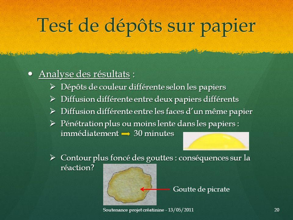 Test de dépôts sur papier Analyse des résultats : Analyse des résultats : Dépôts de couleur différente selon les papiers Dépôts de couleur différente