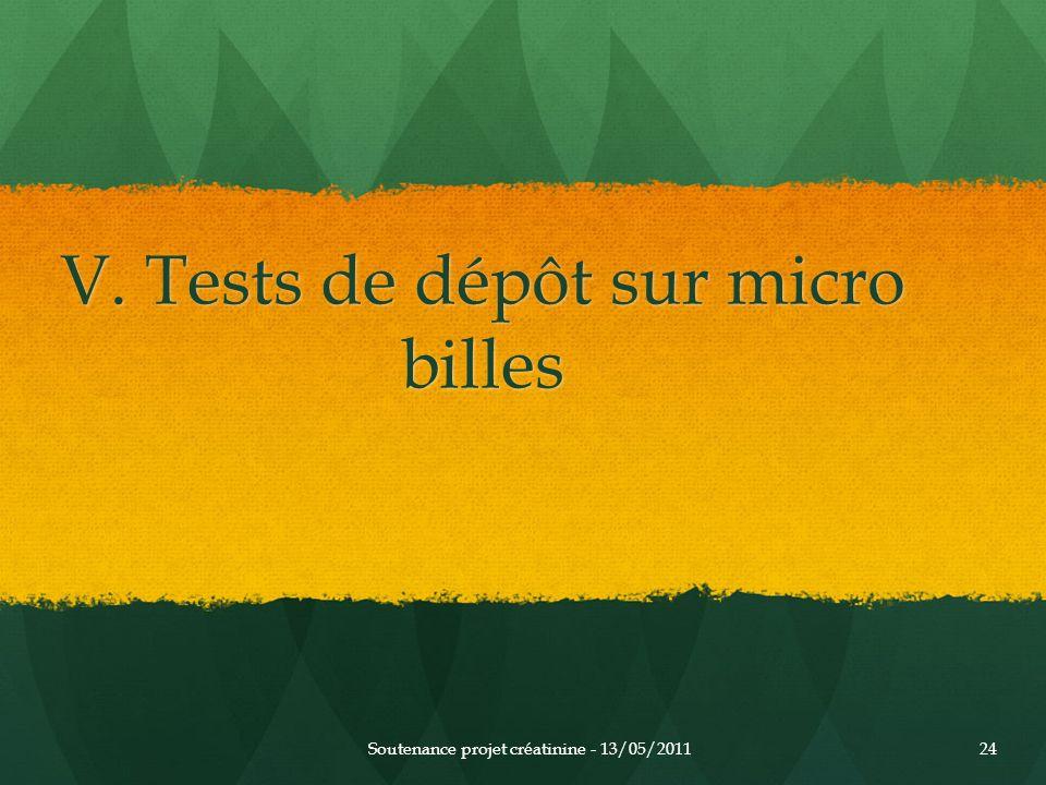 V. Tests de dépôt sur micro billes Soutenance projet créatinine - 13/05/201124