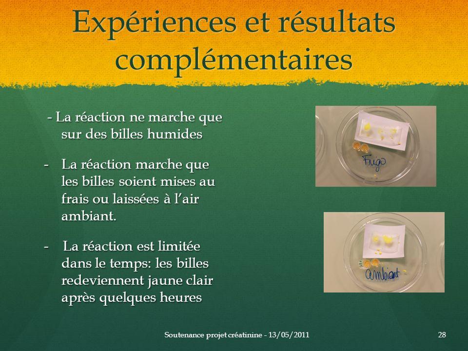 Expériences et résultats complémentaires - La réaction ne marche que sur des billes humides - La réaction ne marche que sur des billes humides -La réa