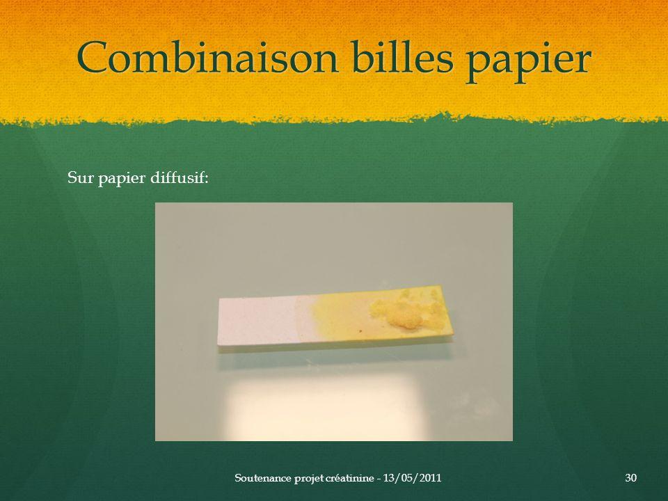 Combinaison billes papier Soutenance projet créatinine - 13/05/201130 Sur papier diffusif: