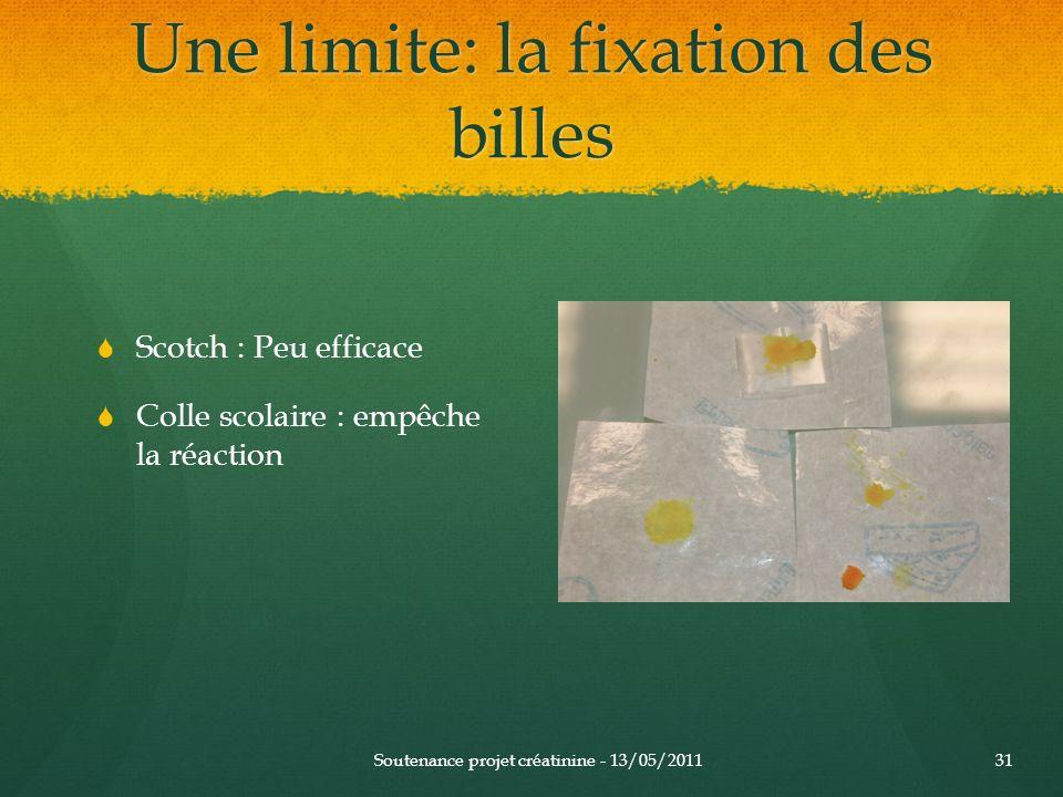 Une limite: la fixation des billes Soutenance projet créatinine - 13/05/201131 Scotch : Peu efficace Colle scolaire : empêche la réaction