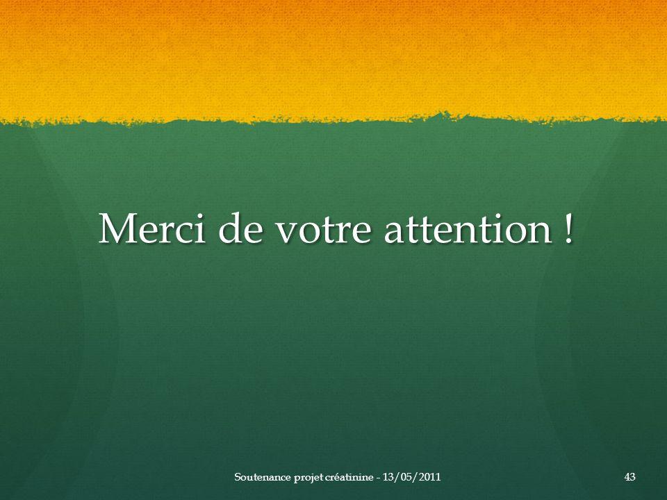 Merci de votre attention ! Merci de votre attention ! Soutenance projet créatinine - 13/05/201143