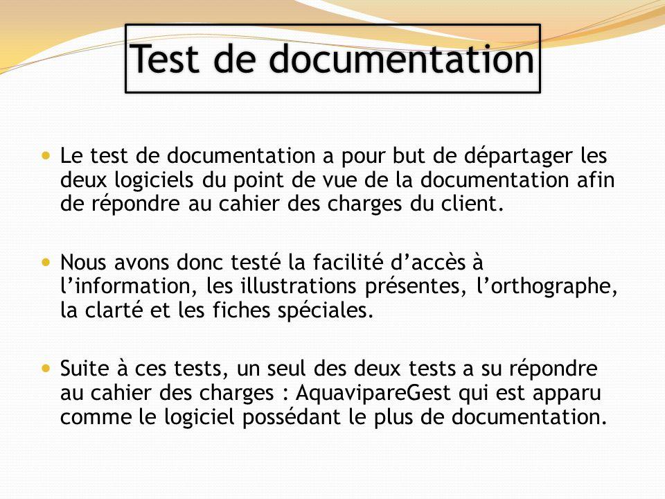 Le test de documentation a pour but de départager les deux logiciels du point de vue de la documentation afin de répondre au cahier des charges du client.