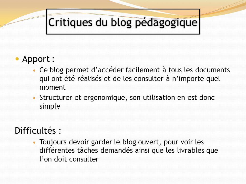 Apport : Ce blog permet daccéder facilement à tous les documents qui ont été réalisés et de les consulter à nimporte quel moment Structurer et ergonom