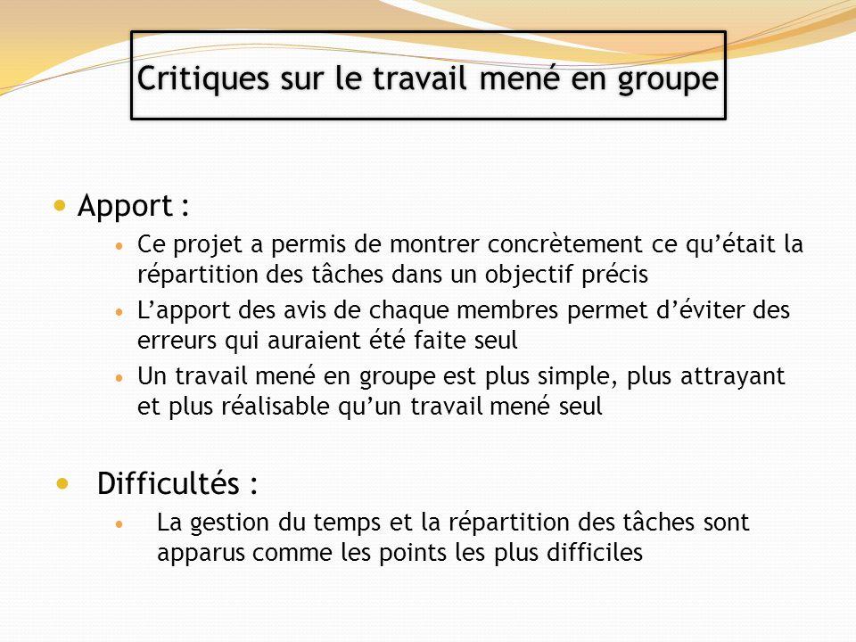 Apport : Ce projet a permis de montrer concrètement ce quétait la répartition des tâches dans un objectif précis Lapport des avis de chaque membres pe
