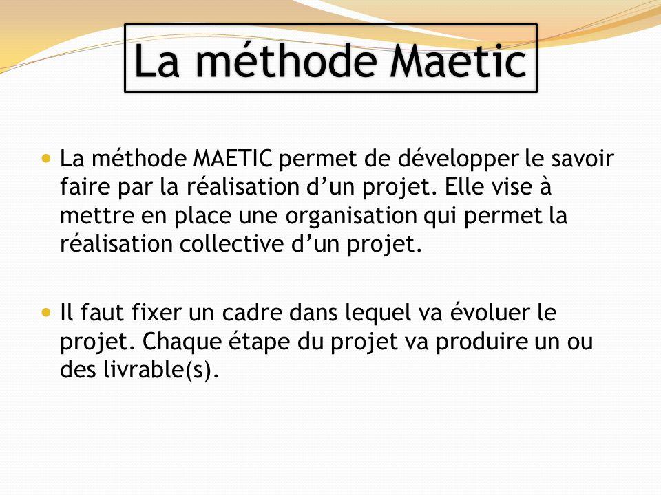 La méthode MAETIC permet de développer le savoir faire par la réalisation dun projet. Elle vise à mettre en place une organisation qui permet la réali
