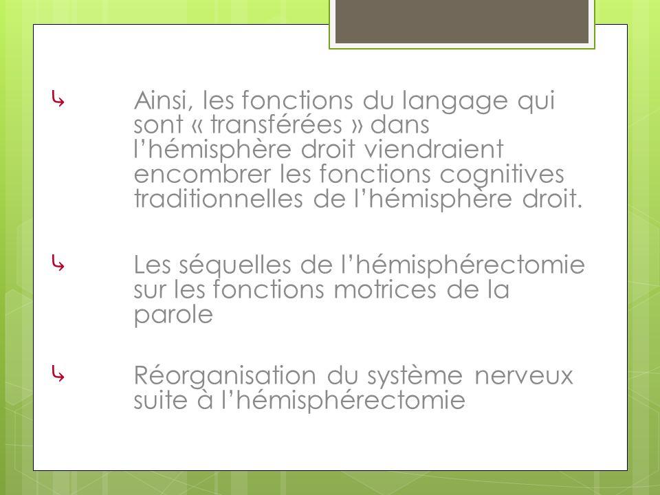 Ainsi, les fonctions du langage qui sont « transférées » dans lhémisphère droit viendraient encombrer les fonctions cognitives traditionnelles de lhém