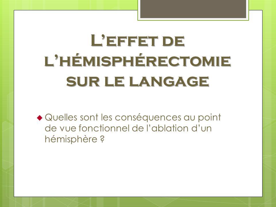 Leffet de lhémisphérectomie sur le langage Quelles sont les conséquences au point de vue fonctionnel de lablation dun hémisphère ?