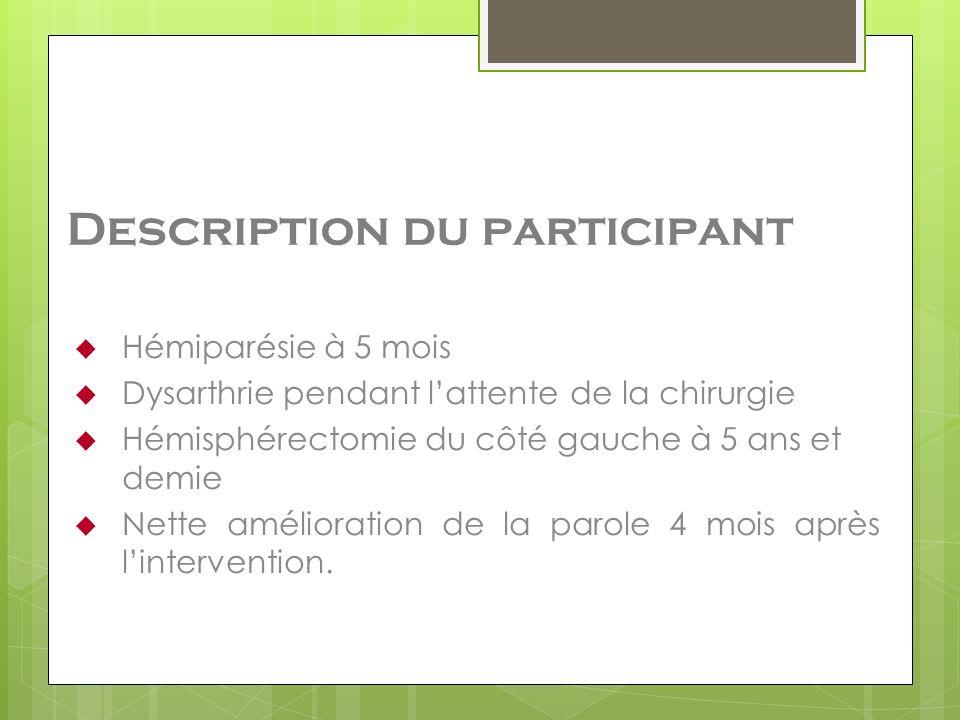 Description du participant Hémiparésie à 5 mois Dysarthrie pendant lattente de la chirurgie Hémisphérectomie du côté gauche à 5 ans et demie Nette amé