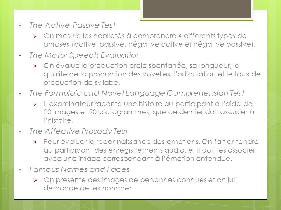 The Active-Passive Test On mesure les habiletés à comprendre 4 différents types de phrases (active, passive, négative active et négative passive). The