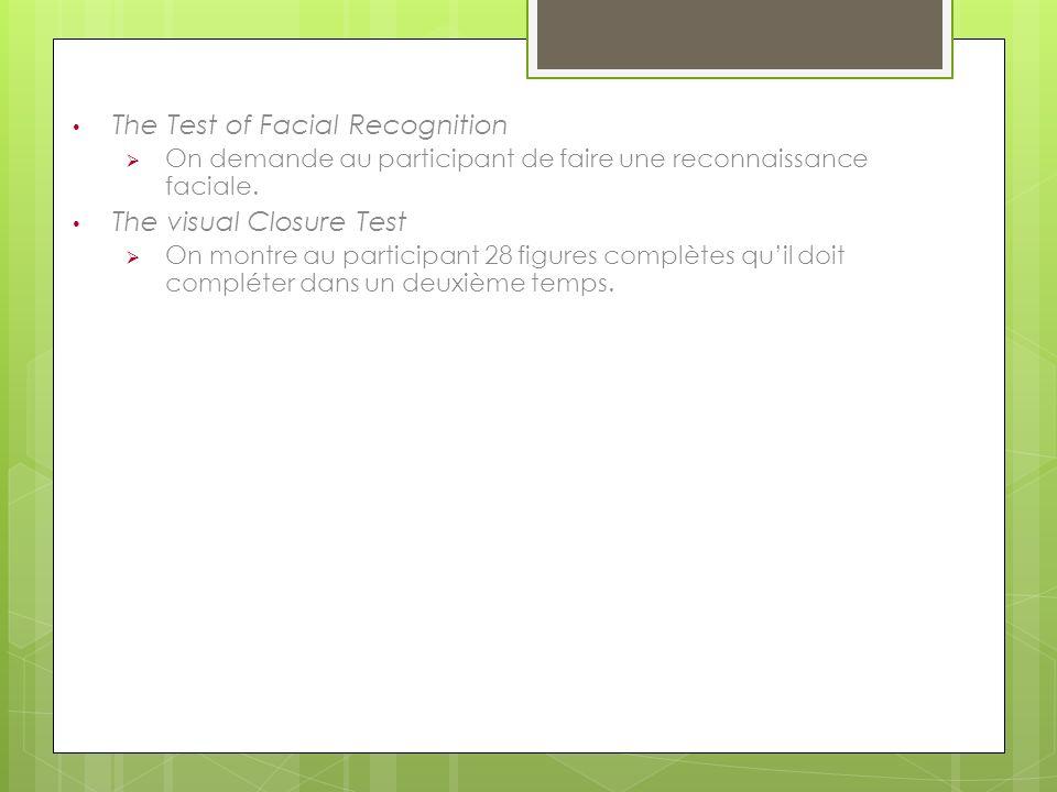 The Test of Facial Recognition On demande au participant de faire une reconnaissance faciale. The visual Closure Test On montre au participant 28 figu