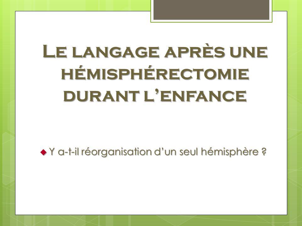 Le langage après une hémisphérectomie durant lenfance Y a-t-il réorganisation dun seul hémisphère ? Y a-t-il réorganisation dun seul hémisphère ?