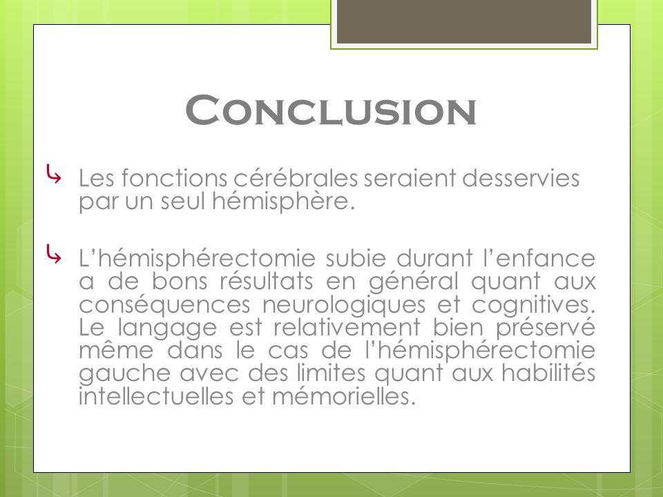 Conclusion Les fonctions cérébrales seraient desservies par un seul hémisphère. Lhémisphérectomie subie durant lenfance a de bons résultats en général
