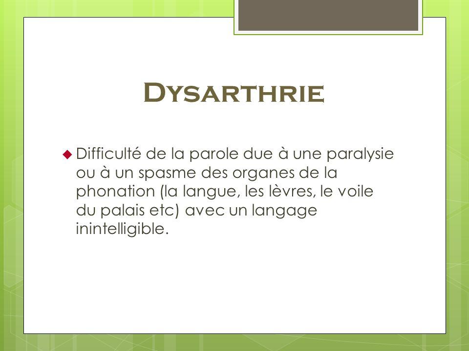 Dysarthrie Difficulté de la parole due à une paralysie ou à un spasme des organes de la phonation (la langue, les lèvres, le voile du palais etc) avec