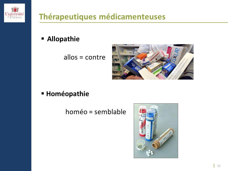 10 Thérapeutiques médicamenteuses Allopathie allos = contre Homéopathie homéo = semblable