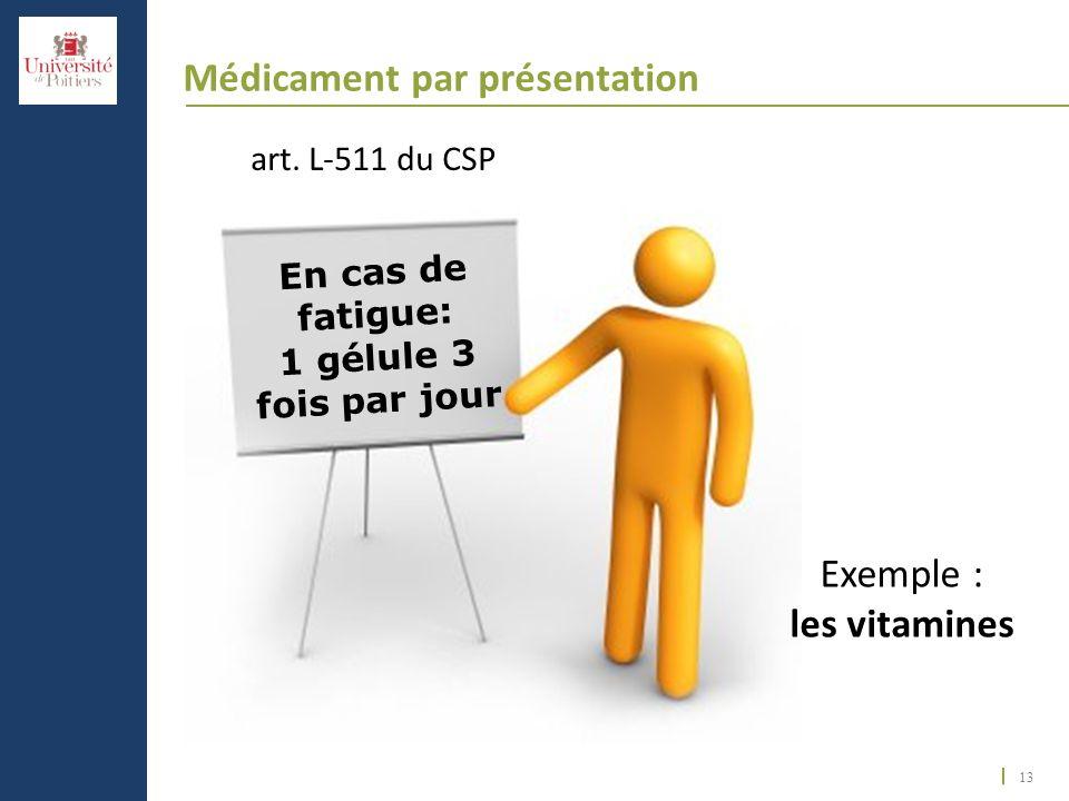 13 Médicament par présentation art. L-511 du CSP En cas de fatigue: 1 gélule 3 fois par jour Exemple : les vitamines