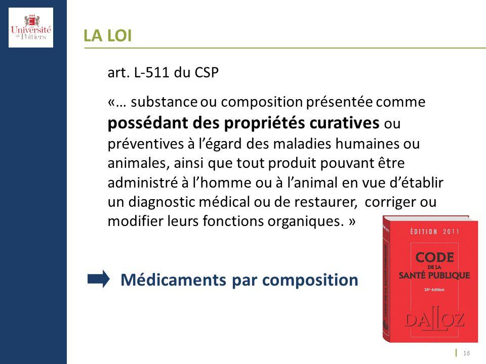 16 LA LOI art. L-511 du CSP «… substance ou composition présentée comme possédant des propriétés curatives ou préventives à légard des maladies humain