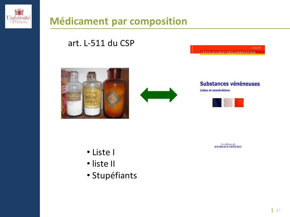 17 Médicament par composition art. L-511 du CSP Liste I liste II Stupéfiants