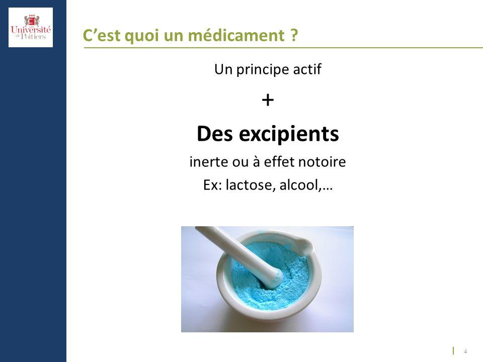 4 Cest quoi un médicament ? Un principe actif + Des excipients inerte ou à effet notoire Ex: lactose, alcool,…