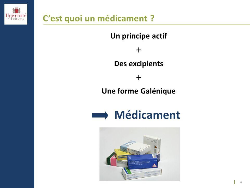 6 Cest quoi un médicament ? Un principe actif + Des excipients + Une forme Galénique Médicament