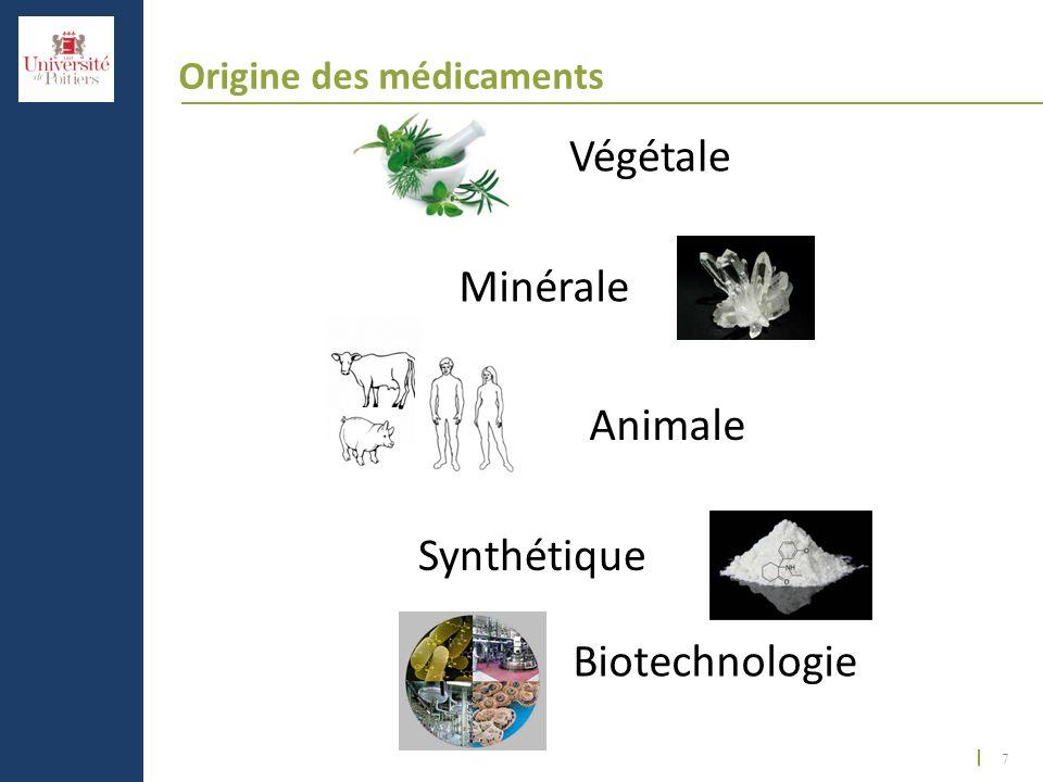 7 Origine des médicaments Végétale Minérale Animale Synthétique Biotechnologie