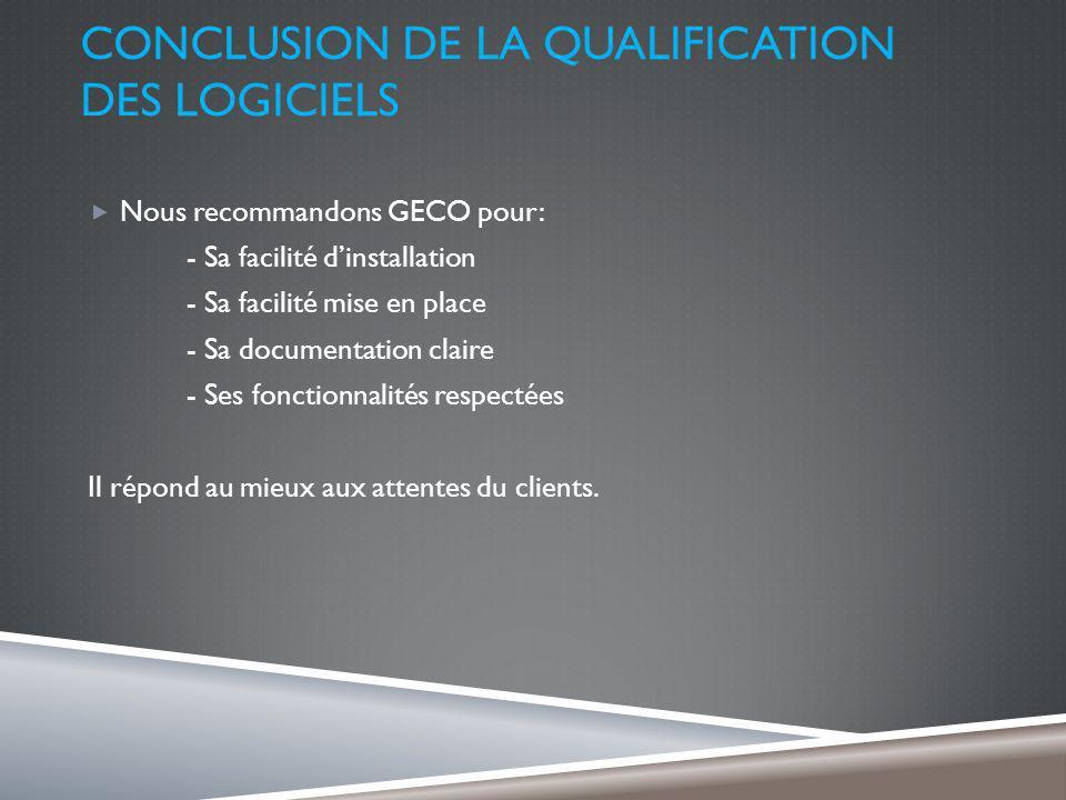 CONCLUSION DE LA QUALIFICATION DES LOGICIELS Nous recommandons GECO pour: - Sa facilité dinstallation - Sa facilité mise en place - Sa documentation claire - Ses fonctionnalités respectées Il répond au mieux aux attentes du clients.