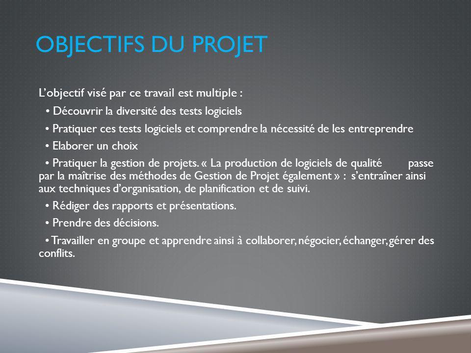 OBJECTIFS DU PROJET Lobjectif visé par ce travail est multiple : Découvrir la diversité des tests logiciels Pratiquer ces tests logiciels et comprendre la nécessité de les entreprendre Elaborer un choix Pratiquer la gestion de projets.