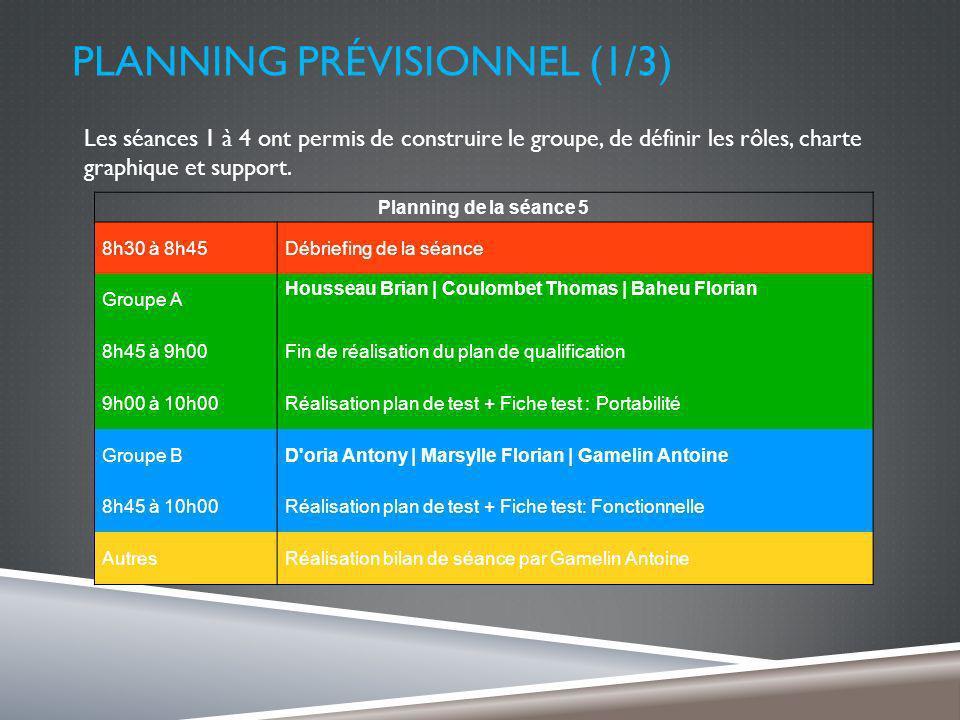 PLANNING PRÉVISIONNEL (1/3) Les séances 1 à 4 ont permis de construire le groupe, de définir les rôles, charte graphique et support.