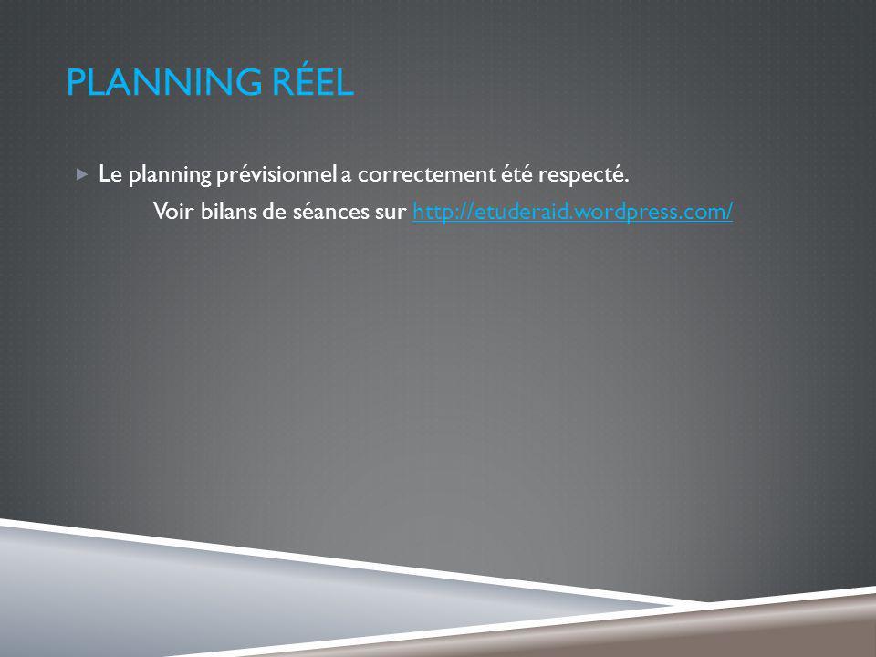 PLANNING RÉEL Le planning prévisionnel a correctement été respecté.