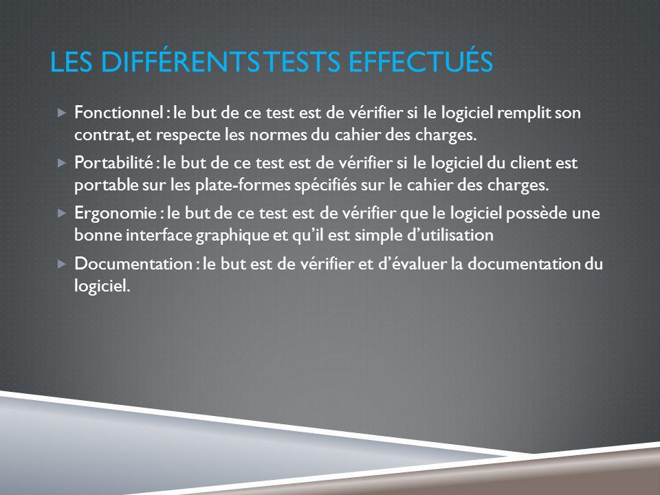 LES DIFFÉRENTS TESTS EFFECTUÉS Fonctionnel : le but de ce test est de vérifier si le logiciel remplit son contrat, et respecte les normes du cahier des charges.
