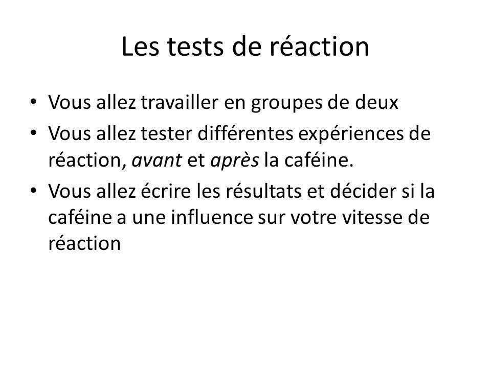 Les tests de réaction Vous allez travailler en groupes de deux Vous allez tester différentes expériences de réaction, avant et après la caféine.