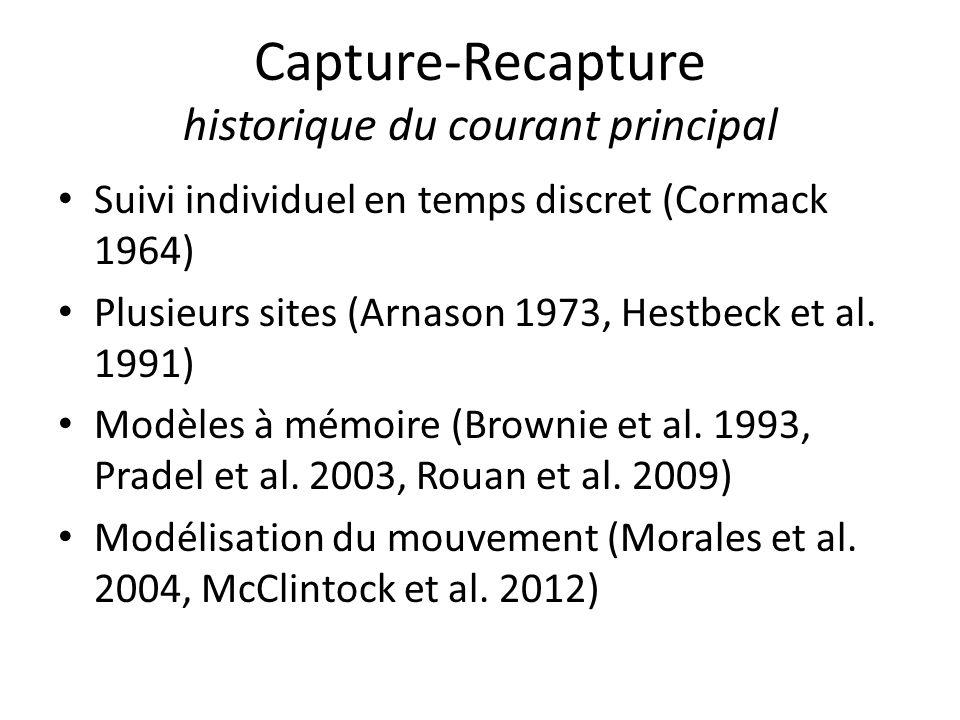 Capture-Recapture historique du courant principal Suivi individuel en temps discret (Cormack 1964) Plusieurs sites (Arnason 1973, Hestbeck et al. 1991