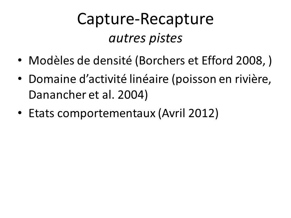 Capture-Recapture autres pistes Modèles de densité (Borchers et Efford 2008, ) Domaine dactivité linéaire (poisson en rivière, Danancher et al. 2004)