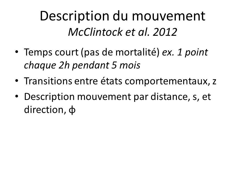 Description du mouvement McClintock et al. 2012 Temps court (pas de mortalité) ex. 1 point chaque 2h pendant 5 mois Transitions entre états comporteme