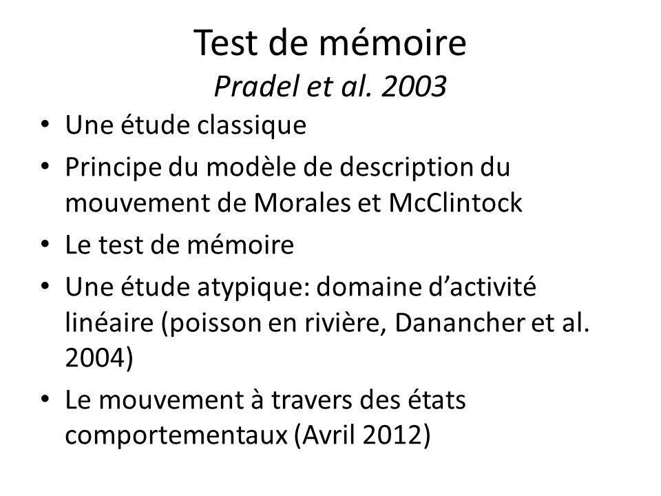 Test de mémoire Pradel et al. 2003 Une étude classique Principe du modèle de description du mouvement de Morales et McClintock Le test de mémoire Une