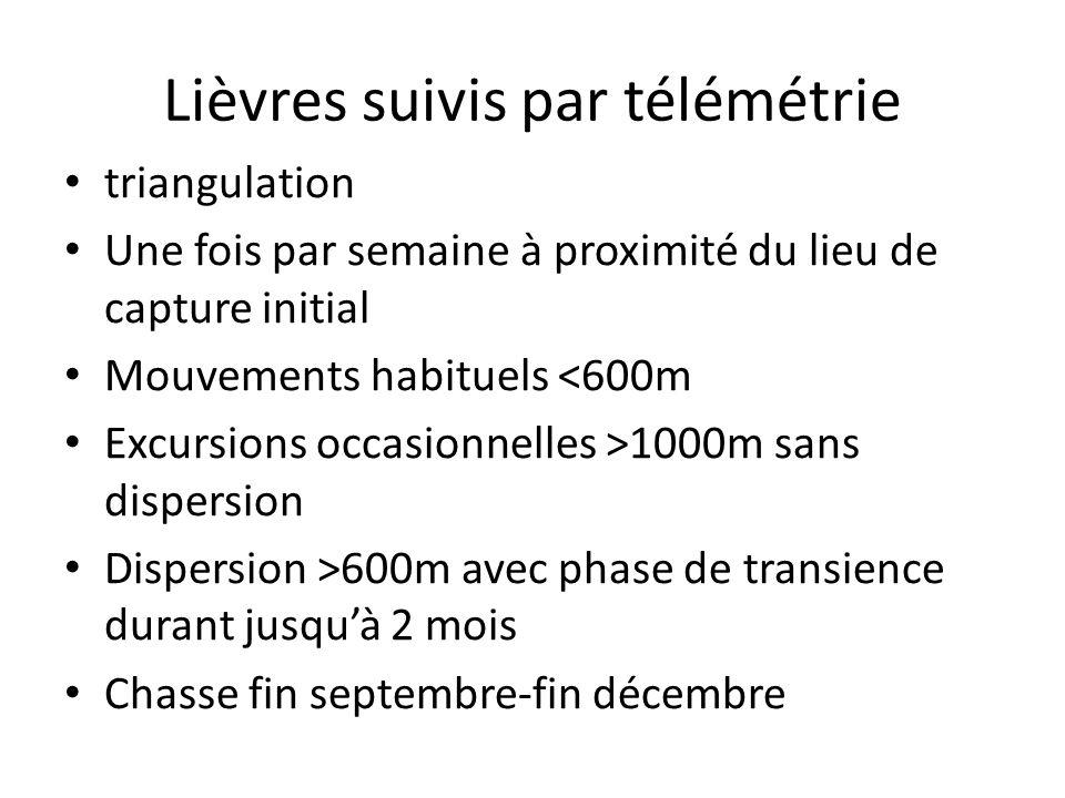 Lièvres suivis par télémétrie triangulation Une fois par semaine à proximité du lieu de capture initial Mouvements habituels <600m Excursions occasion