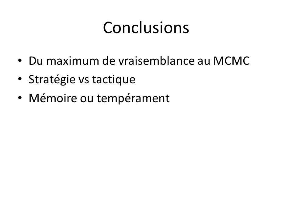 Conclusions Du maximum de vraisemblance au MCMC Stratégie vs tactique Mémoire ou tempérament