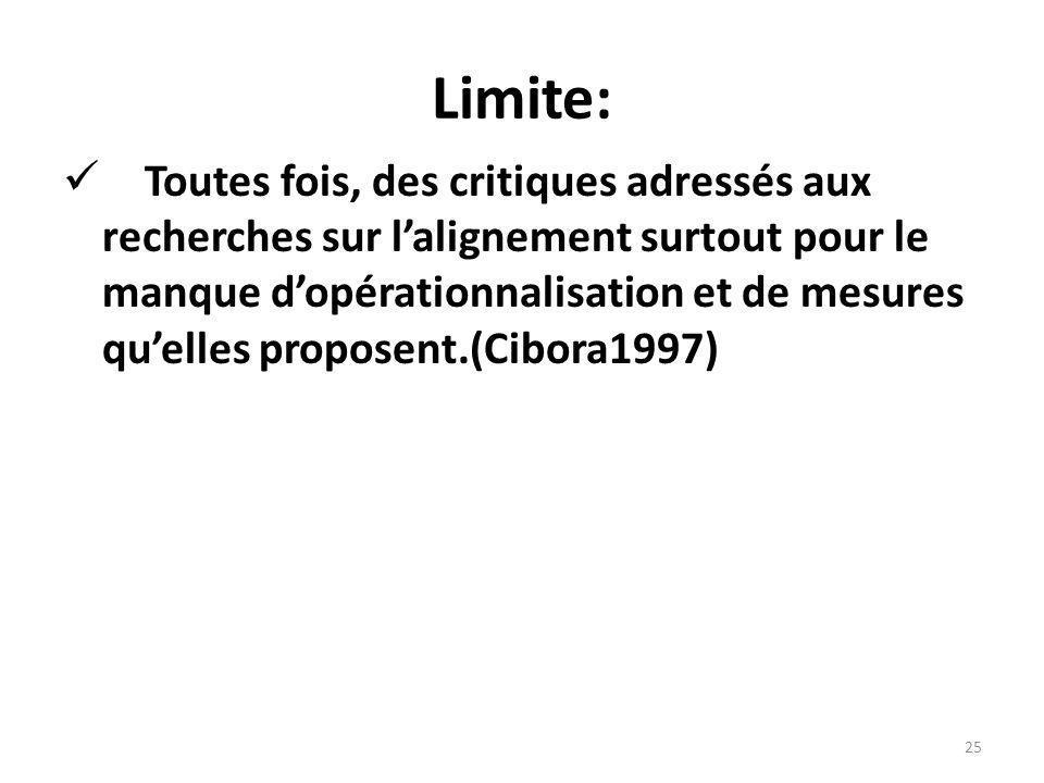 Limite: Toutes fois, des critiques adressés aux recherches sur lalignement surtout pour le manque dopérationnalisation et de mesures quelles proposent