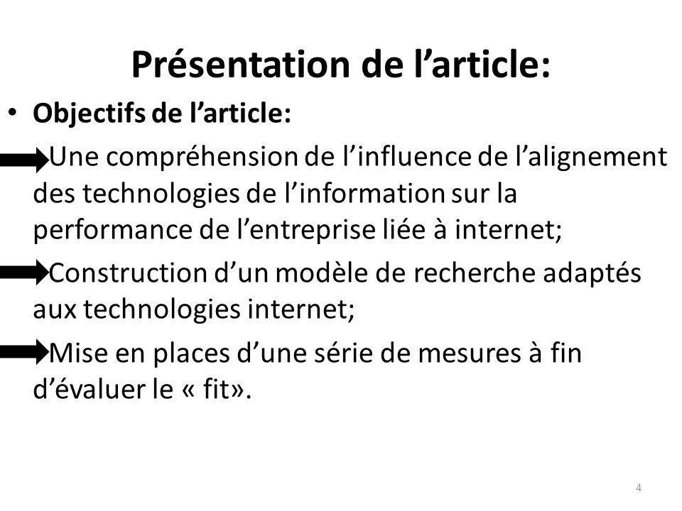 Présentation de larticle: Objectifs de larticle: Une compréhension de linfluence de lalignement des technologies de linformation sur la performance de