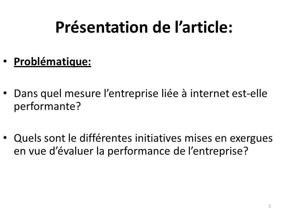 Présentation de larticle: Problématique: Dans quel mesure lentreprise liée à internet est-elle performante? Quels sont le différentes initiatives mise