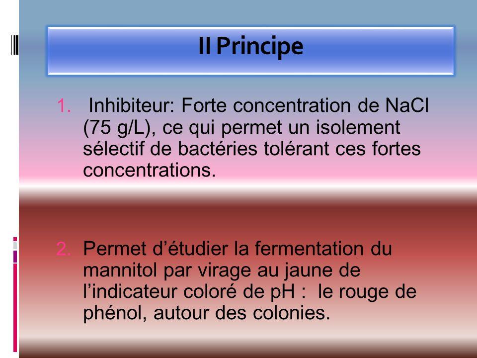 II Principe 1. Inhibiteur: Forte concentration de NaCl (75 g/L), ce qui permet un isolement sélectif de bactéries tolérant ces fortes concentrations.