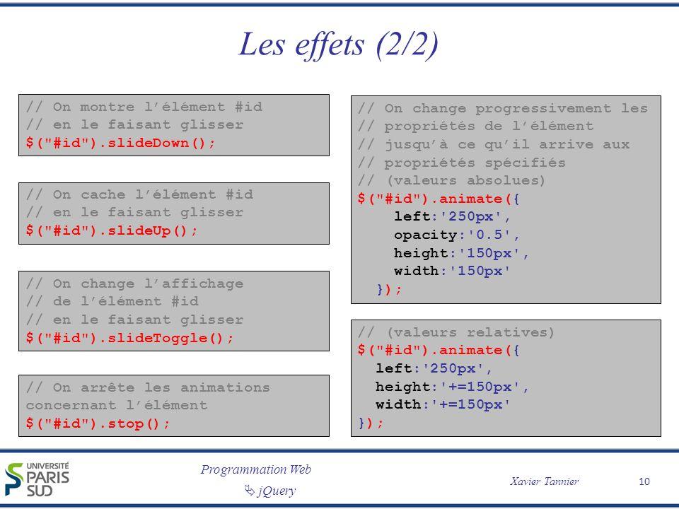 Programmation Web Xavier Tannier jQuery Les effets (2/2) // On montre lélément #id // en le faisant glisser $(