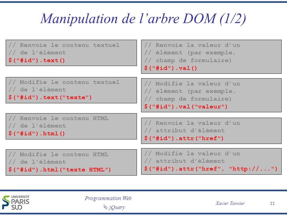 Programmation Web Xavier Tannier jQuery Manipulation de larbre DOM (1/2) // Renvoie le contenu textuel // de lélément $(