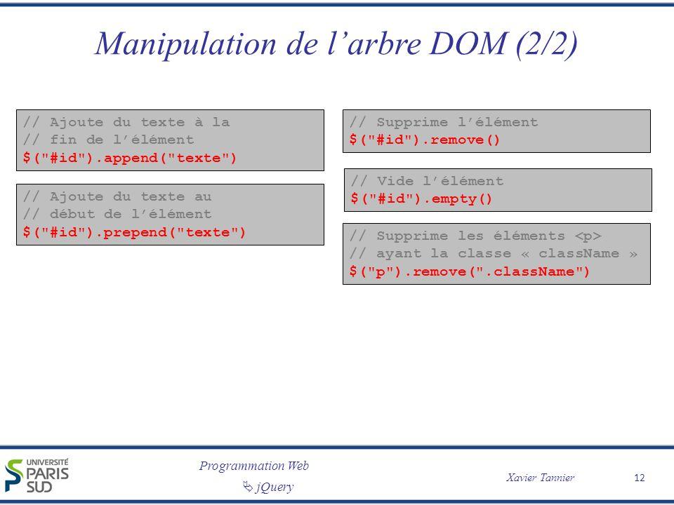 Programmation Web Xavier Tannier jQuery Manipulation de larbre DOM (2/2) // Ajoute du texte à la // fin de lélément $(