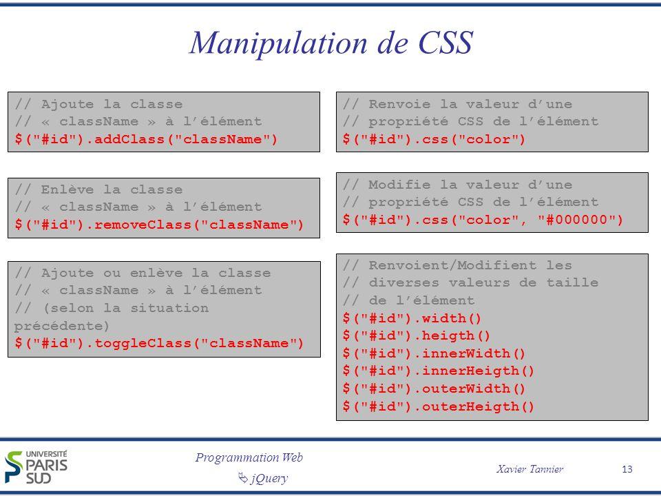 Programmation Web Xavier Tannier jQuery Manipulation de CSS // Ajoute la classe // « className » à lélément $(