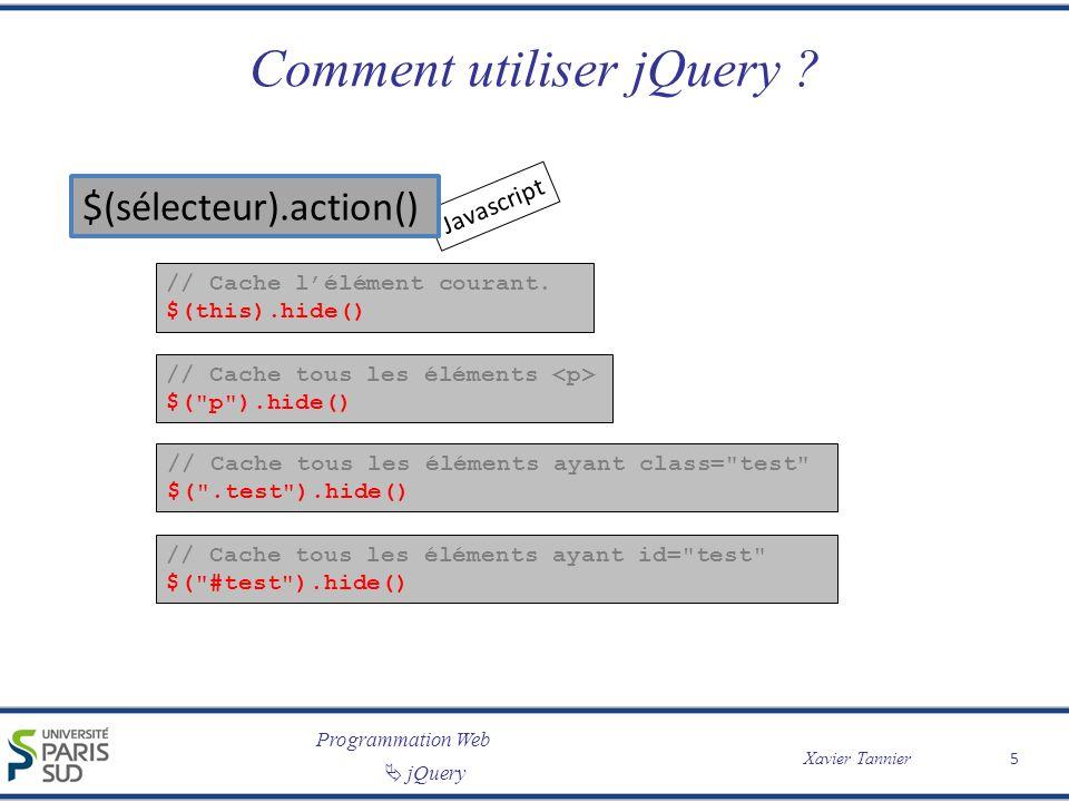 Programmation Web jQuery Xavier Tannier Comment utiliser jQuery ? // Cache lélément courant. $(this).hide() Javascript // Cache tous les éléments $(