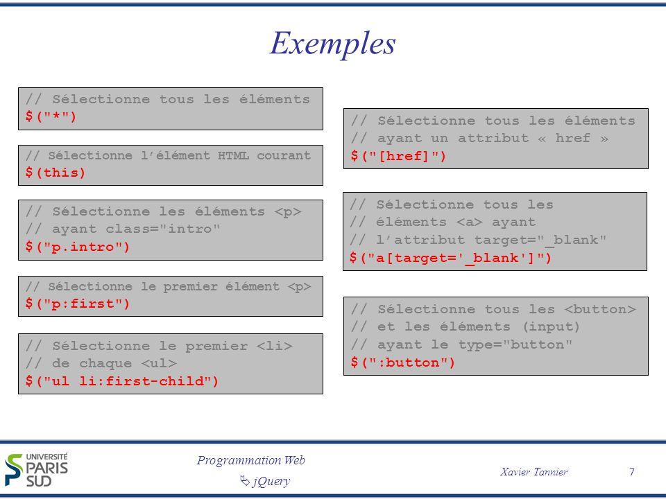 Programmation Web Xavier Tannier jQuery Les événements // Quand on clique sur un élément, // la fonction se déclenche $( p ).click(function(){ // contenu de la fonction }); // Quand on clique sur un élément, // la fonction se déclenche $( p ).click(fonction_predefinie); Tous les événements de Javascript sont traités, par exemple : clickkeypresssubmitload dblclickkeydownchangeresize mouseenterkeyupfocusscroll mouseleave blurunload 8