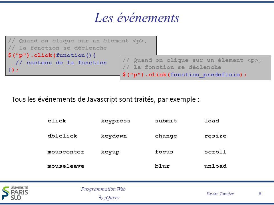 Programmation Web Xavier Tannier jQuery Les effets (1/2) // On cache lélément #id $( #id ).hide(); // On montre lélément #id $( #id ).show(); // On cache progressivement // lélément #id $( #id ).fadeOut(); // On inverse progressivement // laffichage de lélément #id $( #id ).fadeToggle(); // On cache lélément #id // dans 1 seconde $( #id ).hide(1000); // On inverse laffichage // de lélément #id $( #id ).toggle(); // On montre progressivement // lélément #id $( #id ).fadeIn(); // On change en 2 secondes // lopacité de lélément #id // jusquà la valeur 0.15 $( #id ).fadeTo(2000, 0.15); // On change « lentement » // lopacité de lélément #id // jusquà la valeur 0.15 $( #id ).fadeTo( slow , 0.15); 9