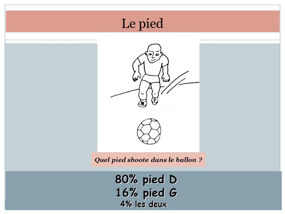 80% pied D 80% pied D 16% pied G 16% pied G 4% les deux Quel pied shoote dans le ballon ? Le pied