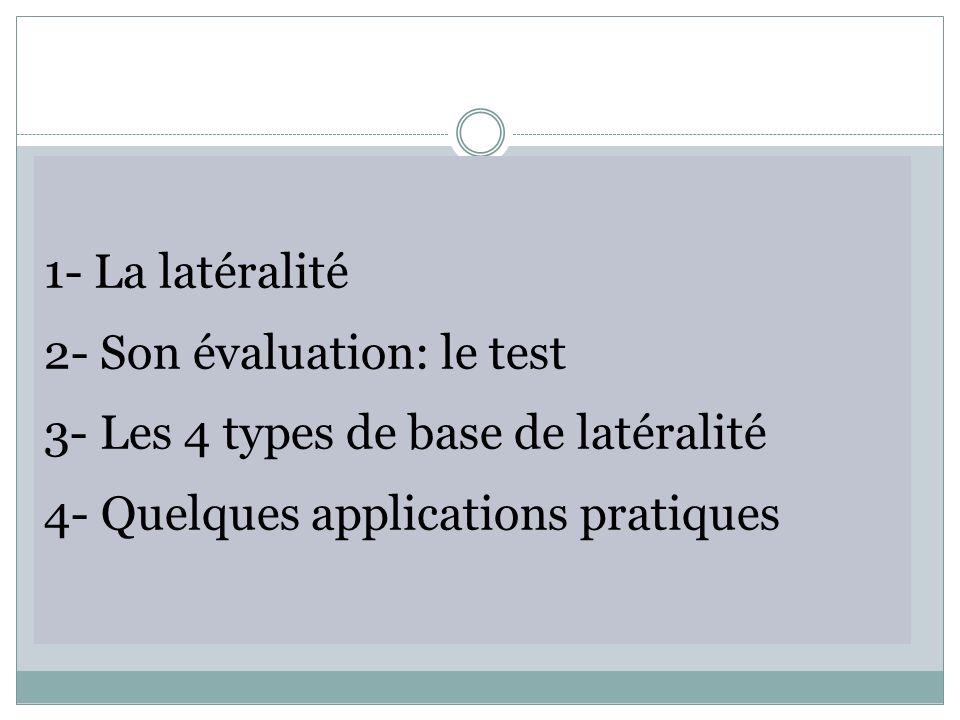 1- La latéralité 2- Son évaluation: le test 3- Les 4 types de base de latéralité 4- Quelques applications pratiques